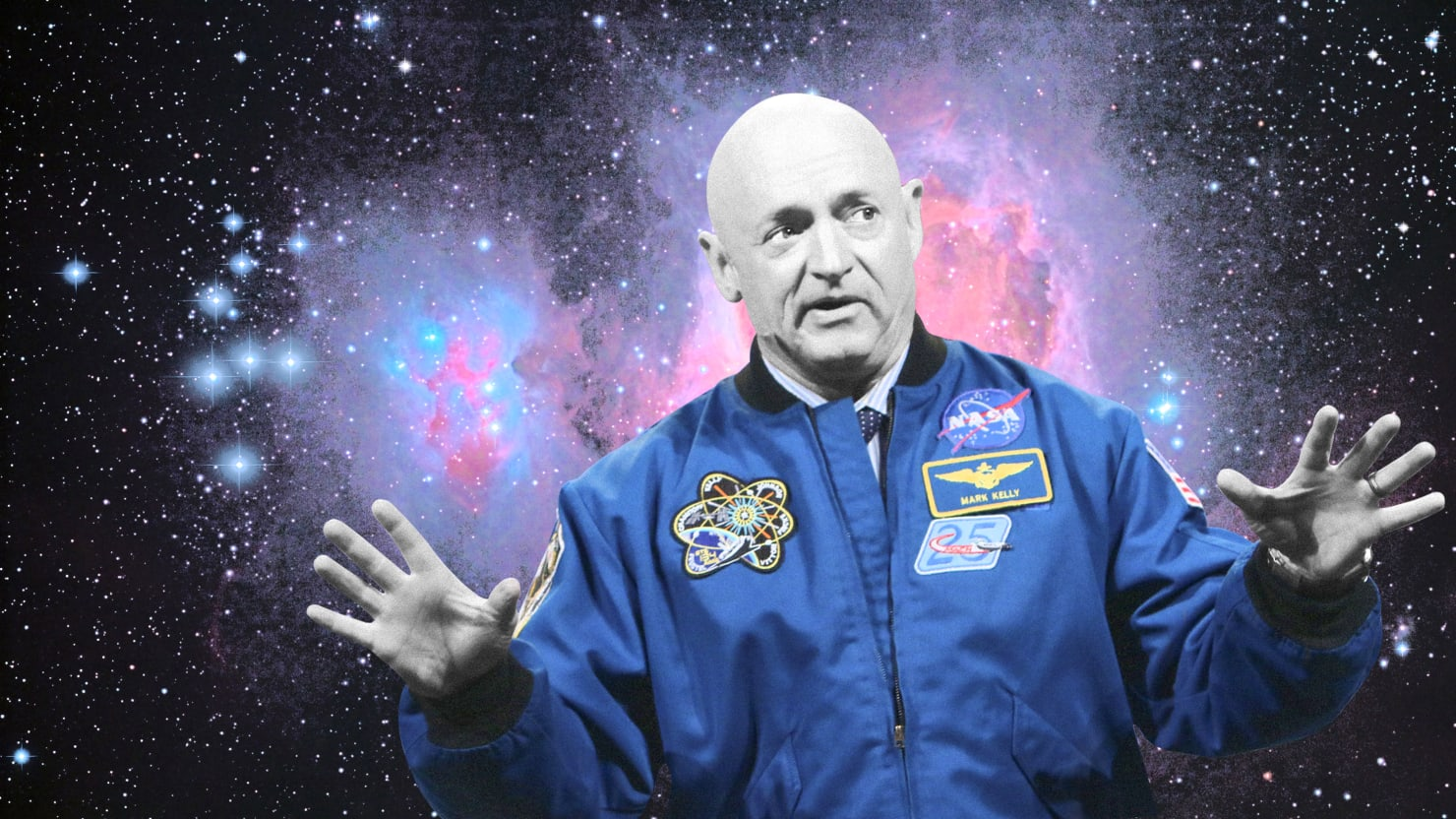 black and white image of mark kelly in nasa astronaut uniform with universe of stars behind him gabby giffords john mccain democrat arizona space force climate change environment