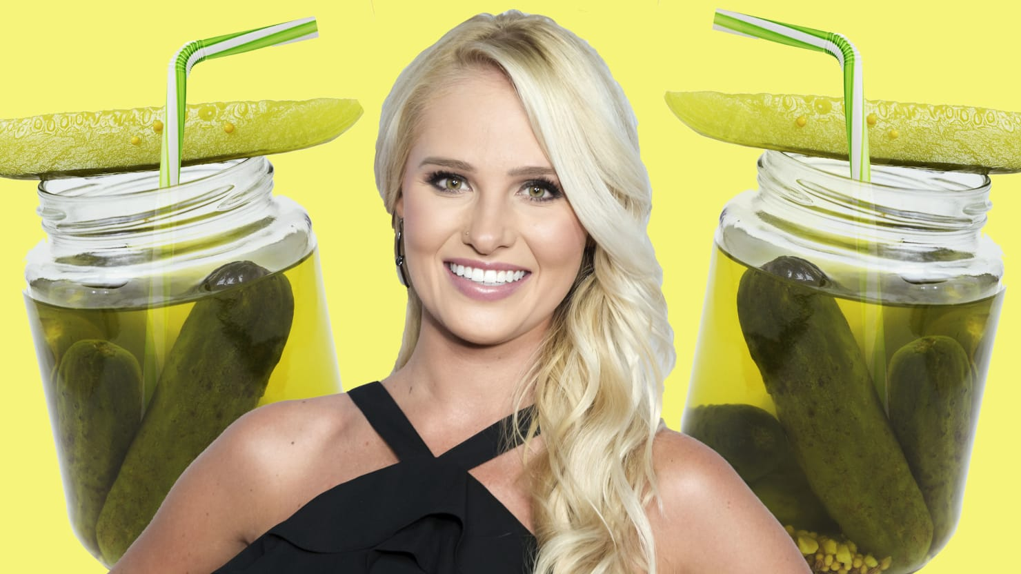 image of tomi lahren between two jars of pickles with pickle on top on yellow green background pickle back sour half fox theblaze the blaze