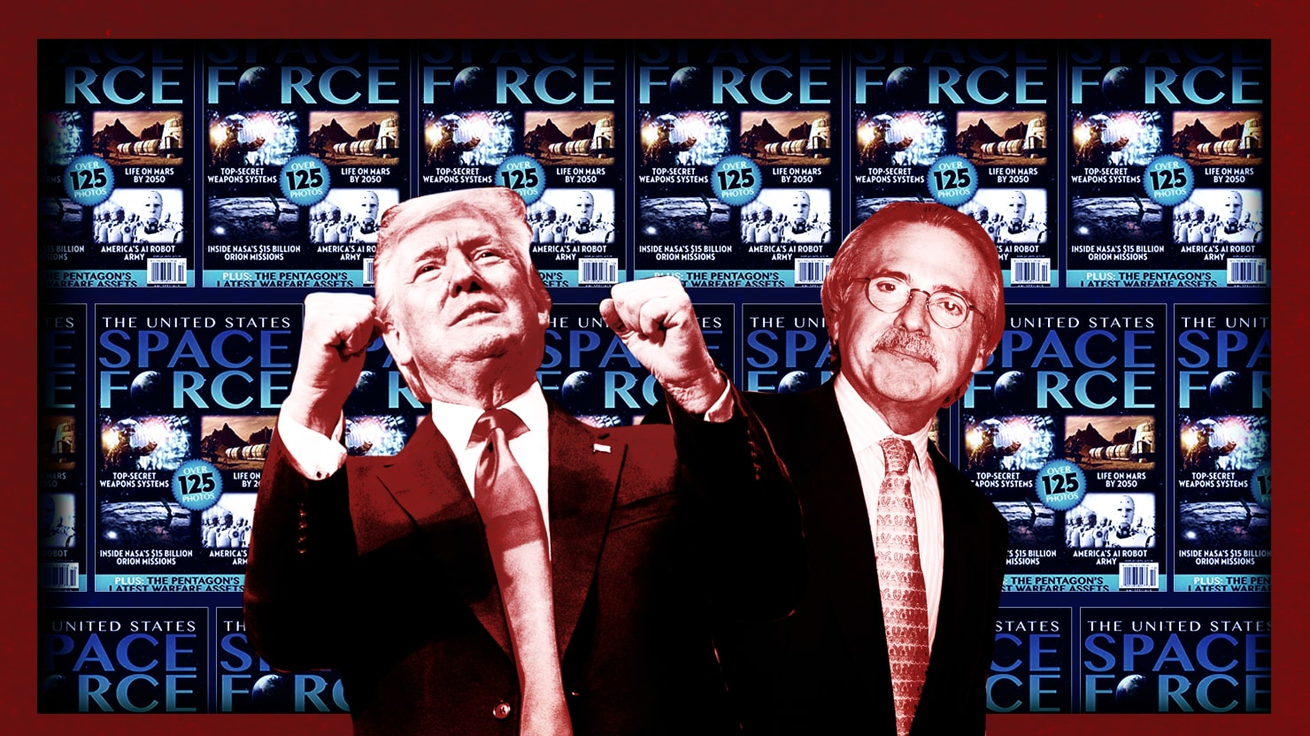 illustration of american media inc space force magazine cover in background with donald trump and david pecker ceo nasa mars aliens pseudoscience debunker