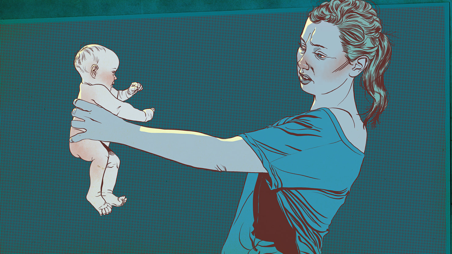 illustration of mom holding child at arm's length in blue and maroon postpartum depression zulresso fda approved expensive drug anxiety