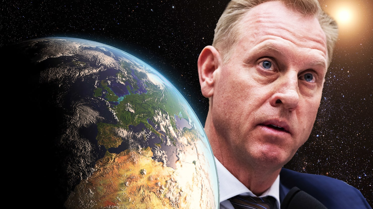 illustration of earth on left side and acting defense secretary patrick shanahan on right side with black space littered with stars background behind them space force donald trump wilbur ross 3 trillion economic economy war