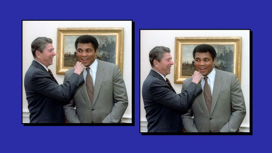 Ronald Reagan delivering a mock punch to Muhammad Ali's jaw