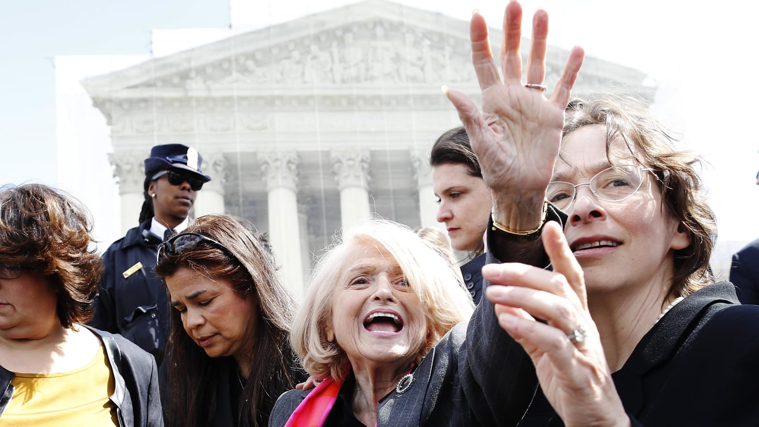 Plaintiff Edith Windsor after her case against the Defense of Marriage Act at the U.S. Supreme Court