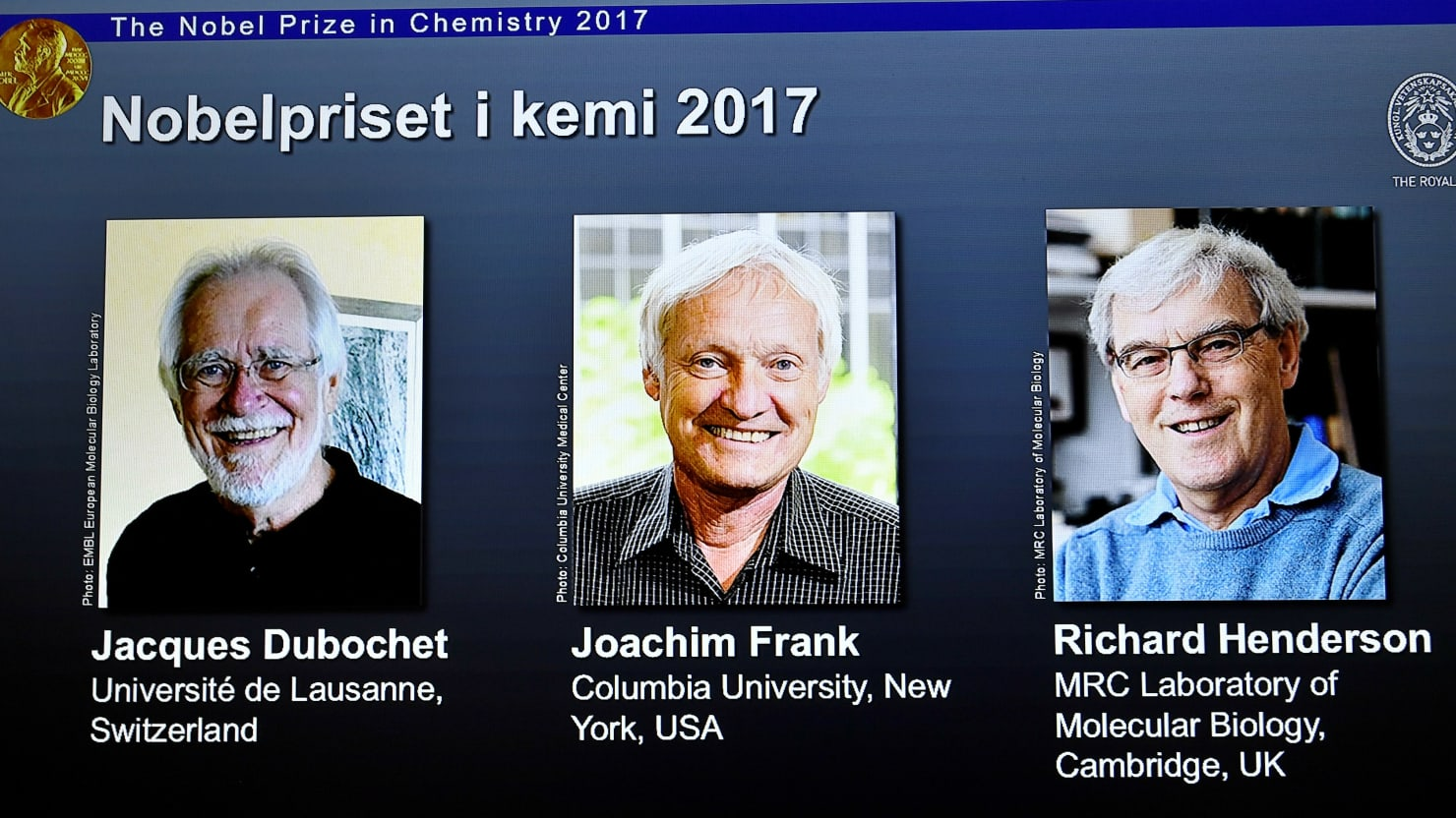 Nobel Prize in Chemistry awarded to 3