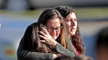 Students are released from a lockdown outside Stoneman Douglas High School in Parkland, Florida.