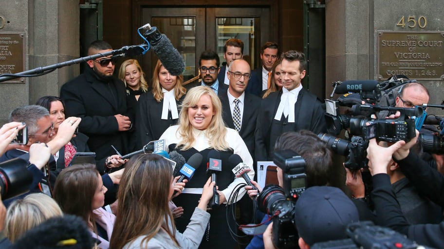 Australian actress Rebel Wilson speaks to the media as she leaves the Victorian Supreme Court on June 15, 2017 in Melbourne, Australia. After a three week trial, a jury of six has returned unanimous verdicts in favour of Wilson.