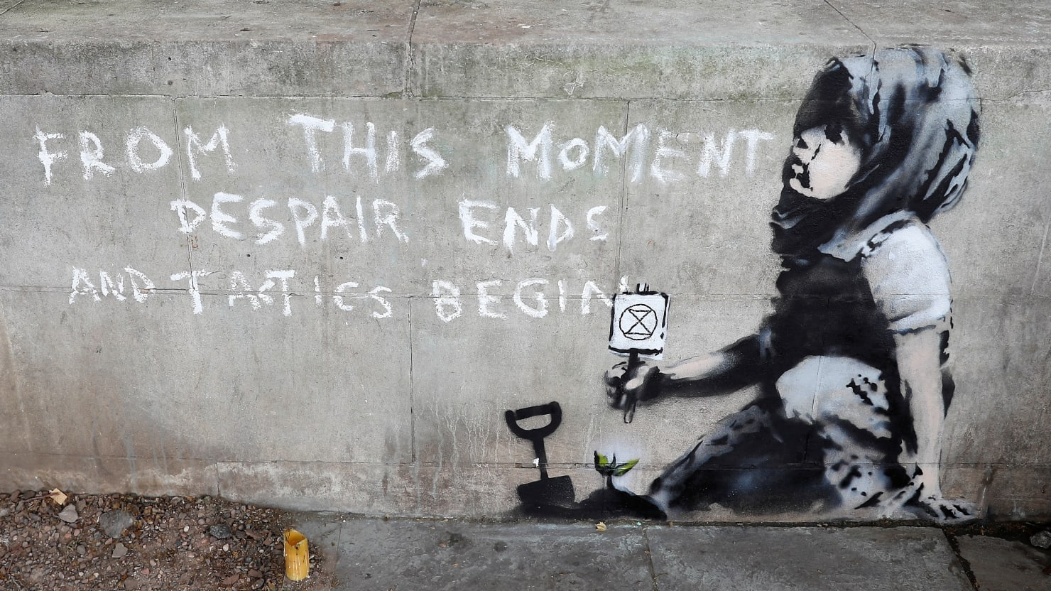 possible banksy mural spotted at london u2019s marble arch