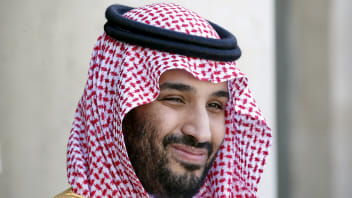 """FILE PHOTO: Saudi Arabia's Deputy Crown Prince Mohammed bin Salman reacts upon his arrival at the Elysee Palace in Paris, France in this June 24, 2015 file photo. REUTERS/Charles Platiau/File Photo - RC2WKE9WGDDZ"""