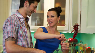 Big tits wife fucked in kitchen while kids are gone Extra Virgin Sauciest Show On Tv With Debi Mazar And Gabriele Corcos