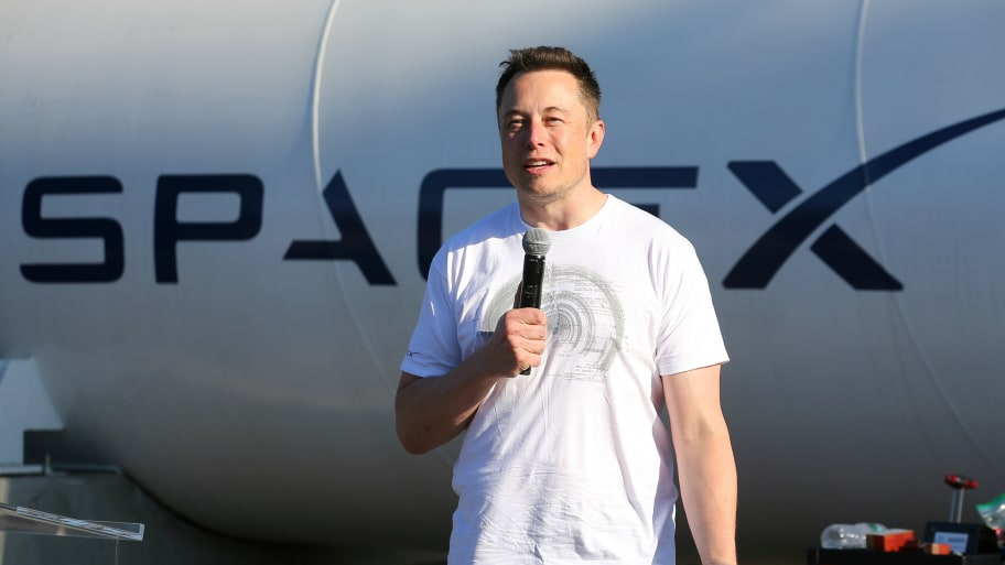 Elon Musk at SpaceX Hyperloop Pod II competition in Hawthorne, California