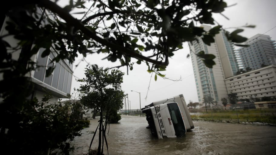 Overturned truck from Hurricane Irma in South Florida