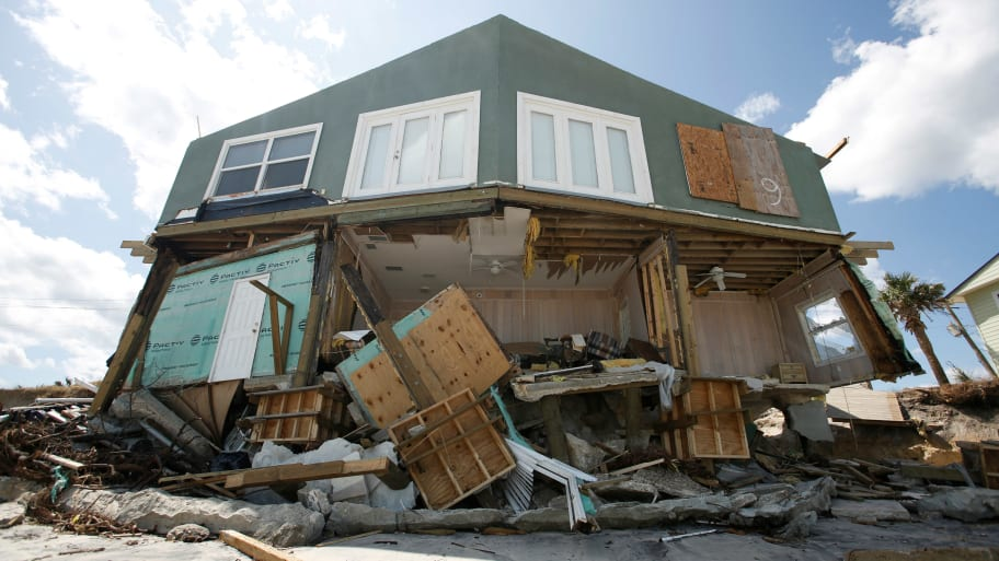 A damaged coastal house is pictured after Hurricane Irma passed the area in Ponte Vedra Beach