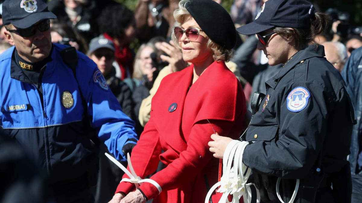 Jane Fonda, Sam Waterston Arrested at Capitol Hill Climate Change Protest