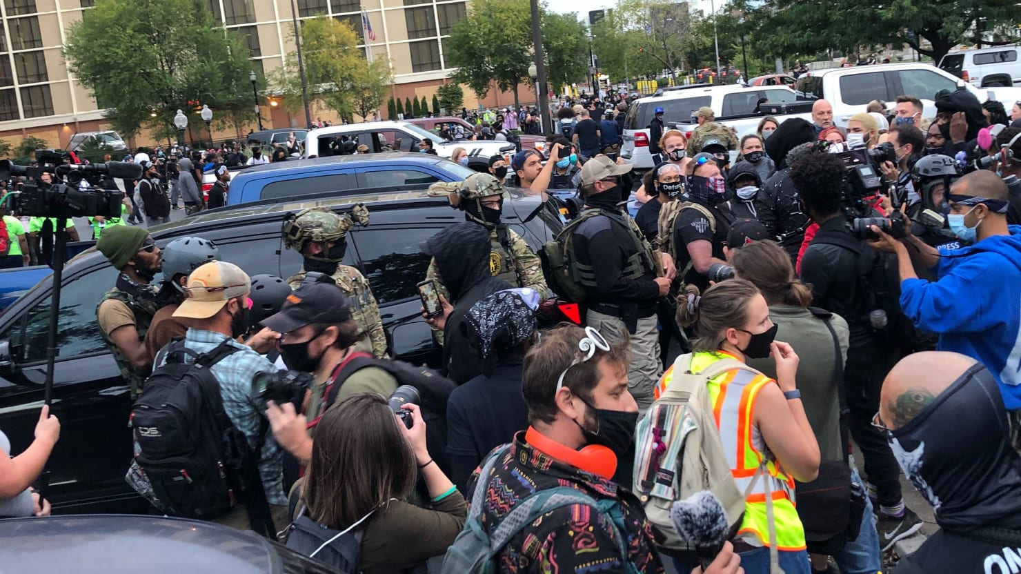 'Don't Give a Fuck': Protesters Confront Armed Militia in Louisville