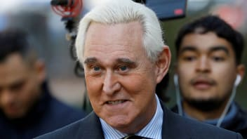 """""""FILE PHOTO: Roger Stone, former campaign adviser to U.S. President Donald Trump, arrives for his criminal trial on charges of lying to Congress, obstructing justice and witness tampering at U.S. District Court in Washington, U.S., November 6, 2019.  REUTERS/Tom Brenner/File Photo - RC2ZXE9CHSZM"""""""