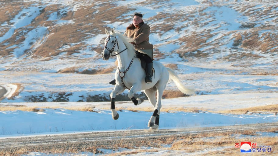 Kim Jong Un Casually Rides Magnificent White Horse up a Sacred Mountain For Absurd Photo-Op