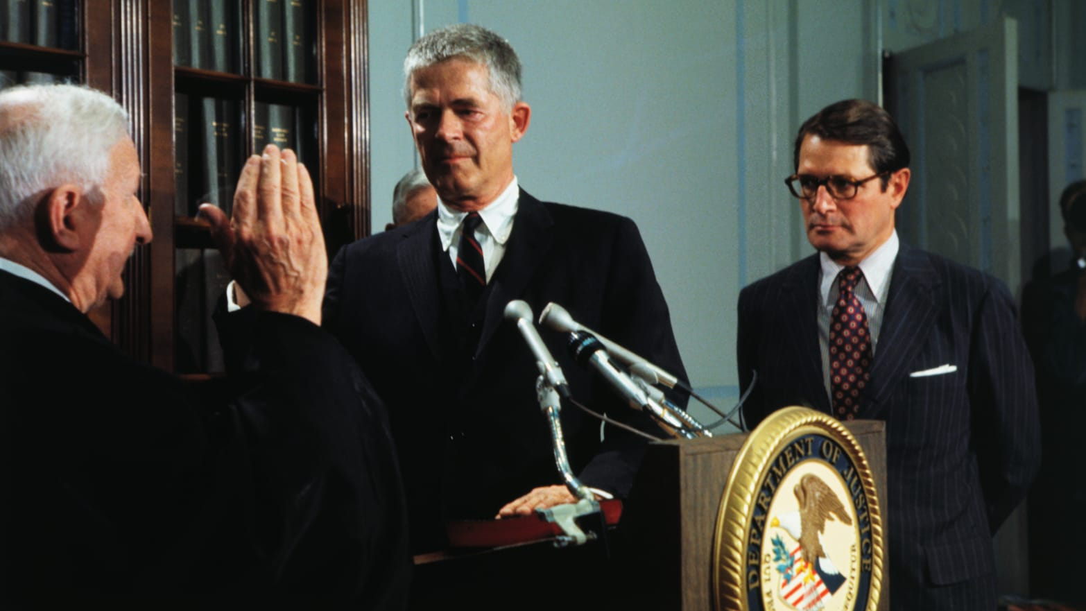 Archibald Cox sworn in as Special Watergate Prosecutor by Judge Charles Fahy of the District of Columbia Circuit Court with Attorney General Elliot Richardson witnessing