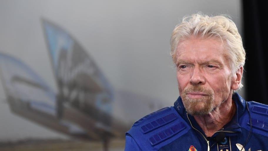 Richard Branson wearing his space suit.