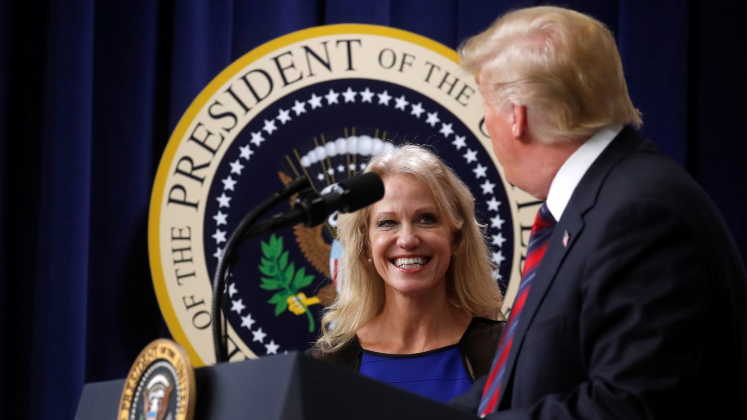 Trump Throws Tantrum at Kellyanne Conway's 'Husband From Hell'