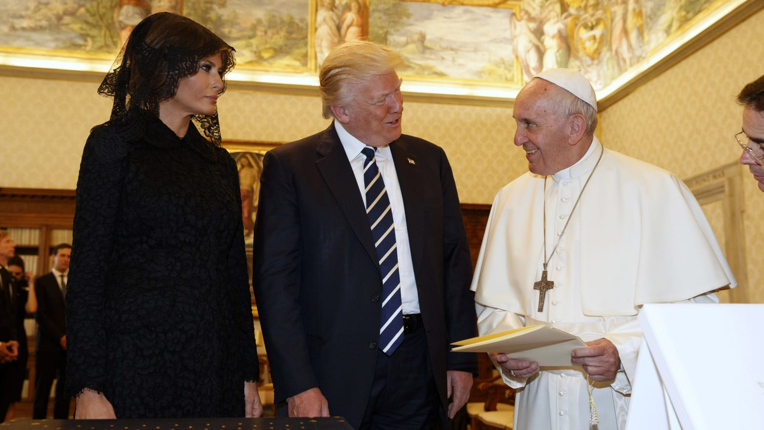 Melania and Donald Trump meet with Pope Francis in Rome.