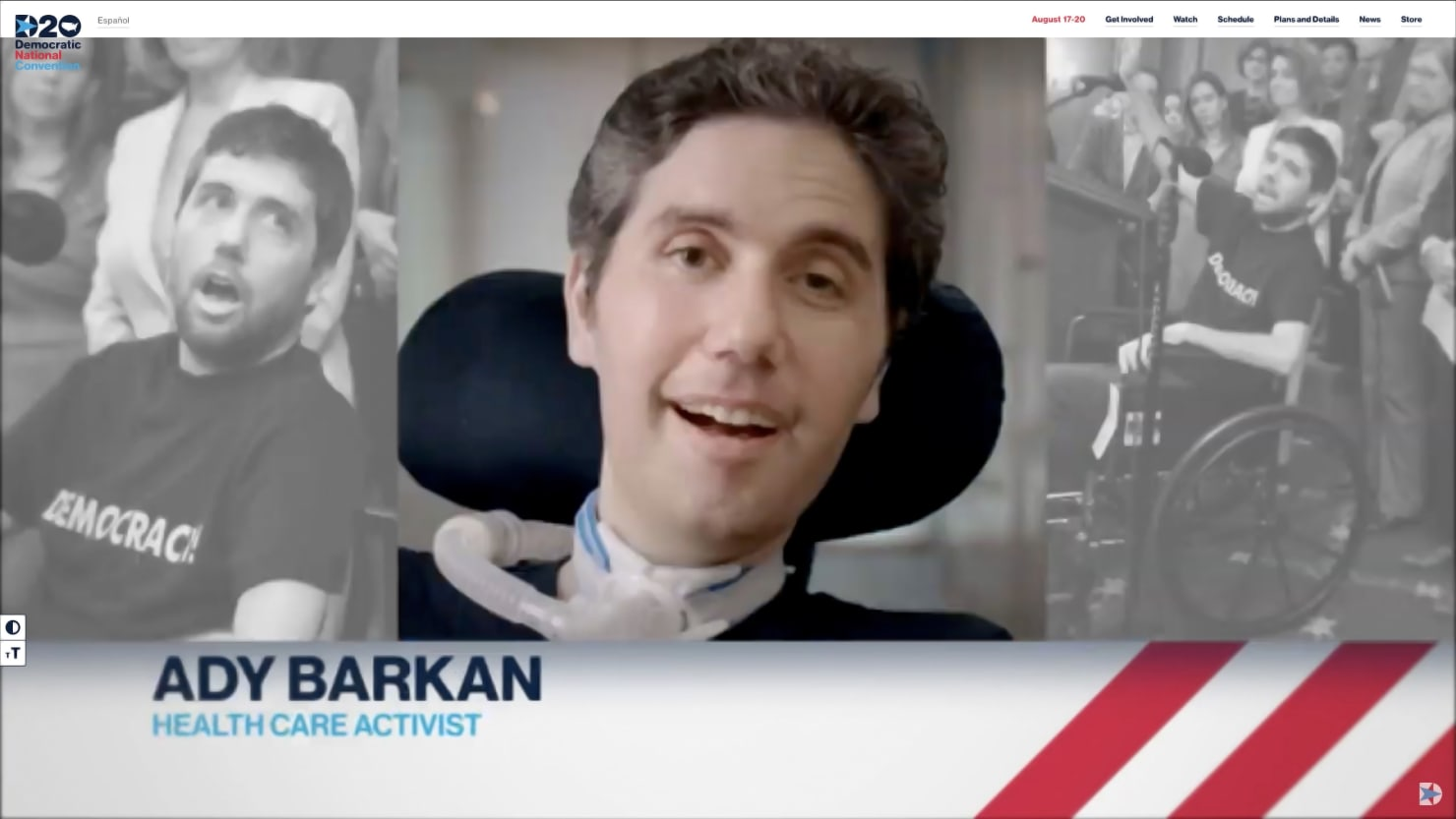 Ady Barkan, A Man Without a Voice, Delivers Most Powerful DNC Speech