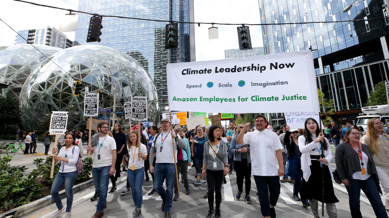 Amazon CEO Jeff Bezos' Climate Pledges Didn't Stop Employees From Taking to the Streets