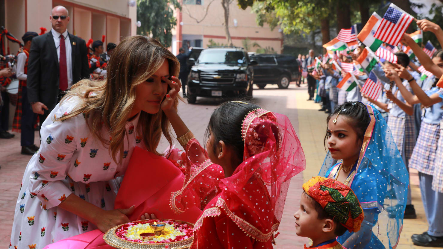 Melania Visits 'Happiness Class' in India After Spending a Whole Day With Donald