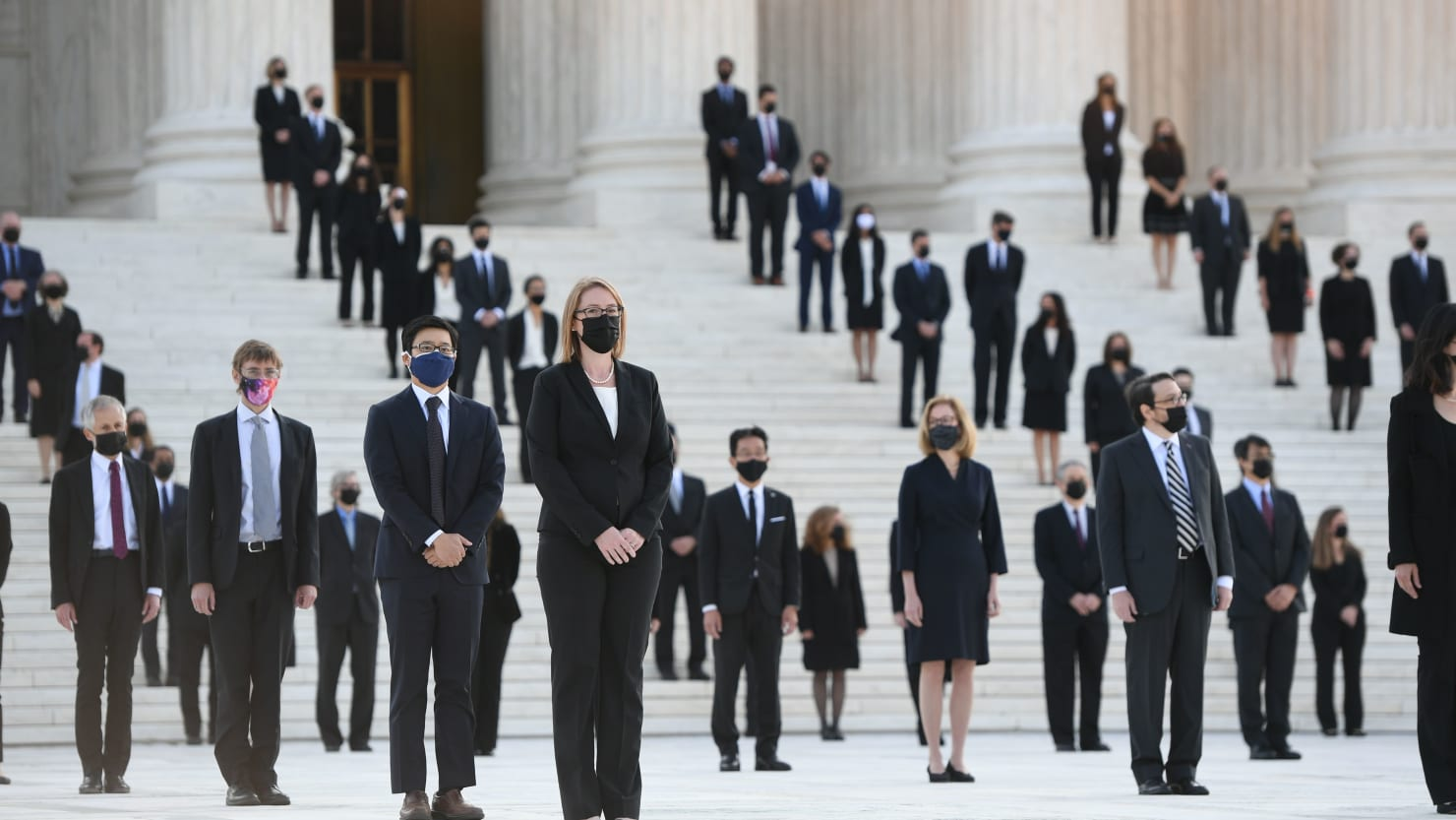 120 of Ruth Bader Ginsburg's Clerks Line Supreme Court Steps As Her Casket Is Brought In