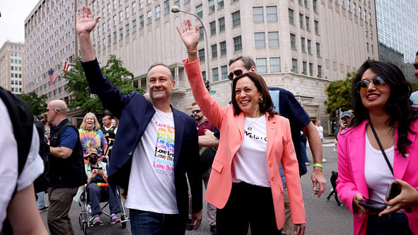 Kamala Harris Makes History as First Sitting Vice President to March at Pride