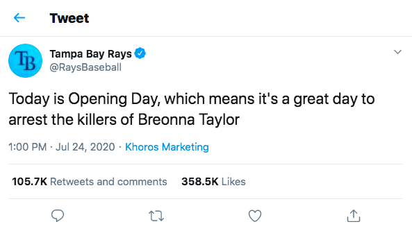 Florida Police Chief Threatens Tampa Bay Rays Over Breonna Taylor Tweet
