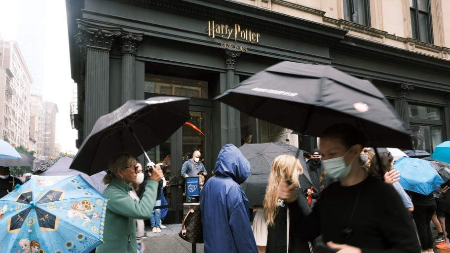 How did a gunman in a ski mask open fire into this Harry Potter store?