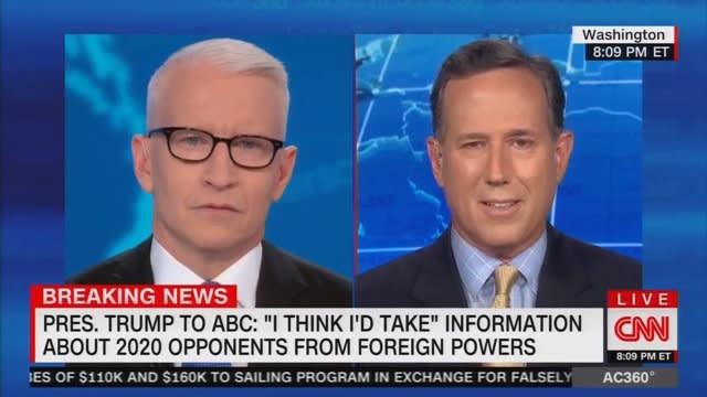 memeorandum: Rick Santorum: Trump Was Just Using 'Filler Words' When