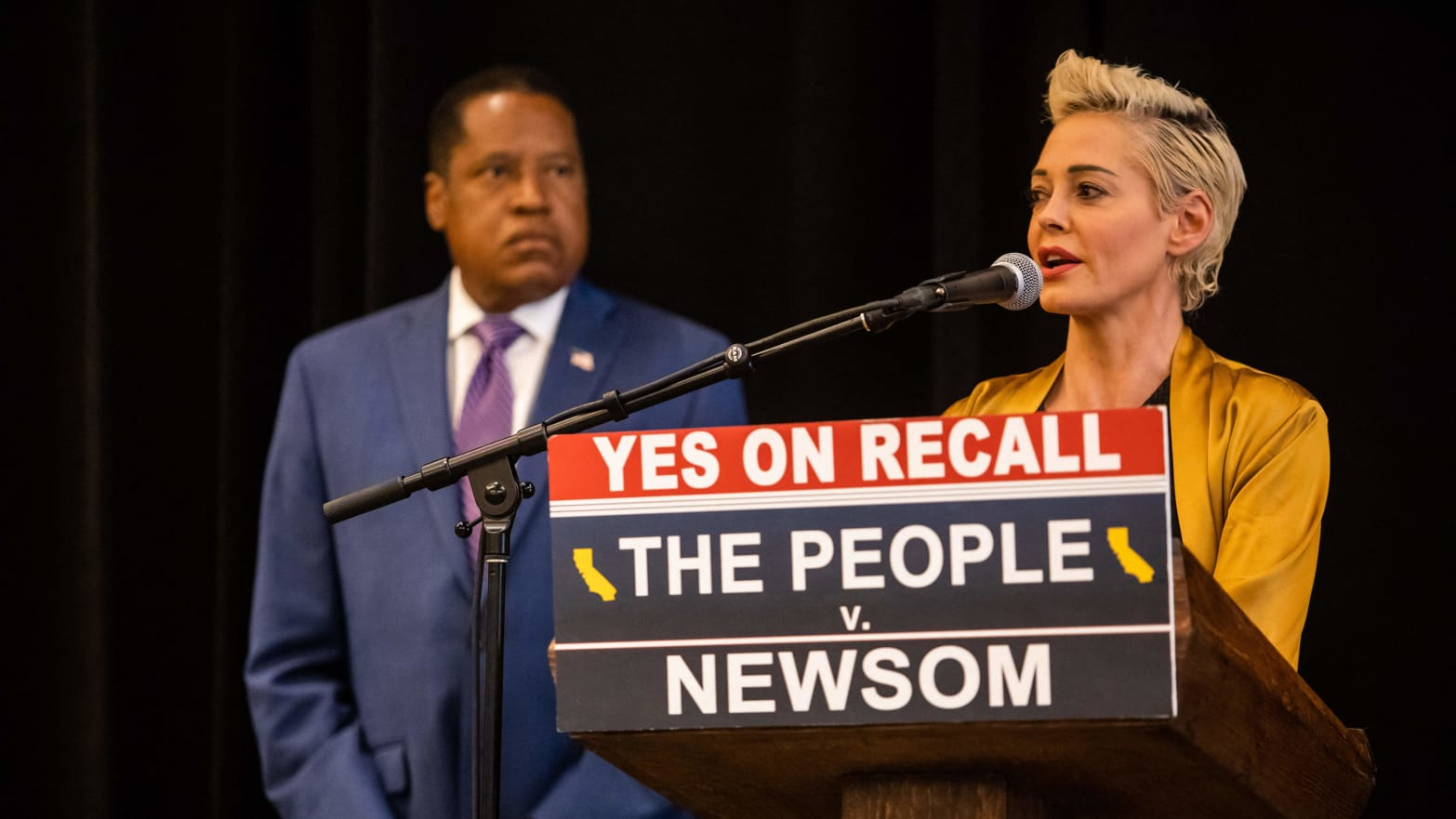 Rose McGowan Says She Is No Longer Democrat, Asks Voters To 'Put A Stake In The Heart of Evil' At Larry Elder Event