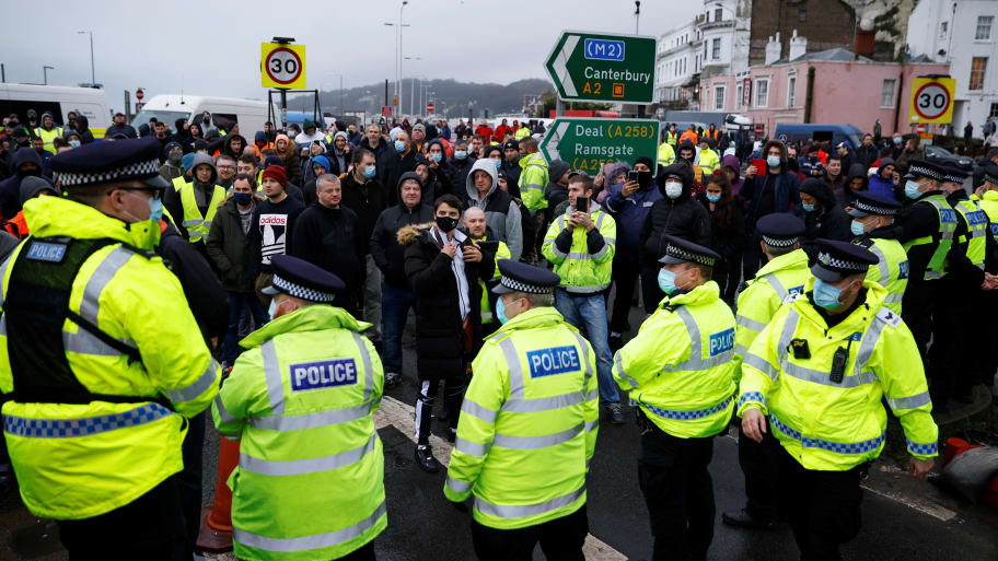 Fights Break Out in Dover as Trapped European Truckers Demand to Leave Cut-Off Britain