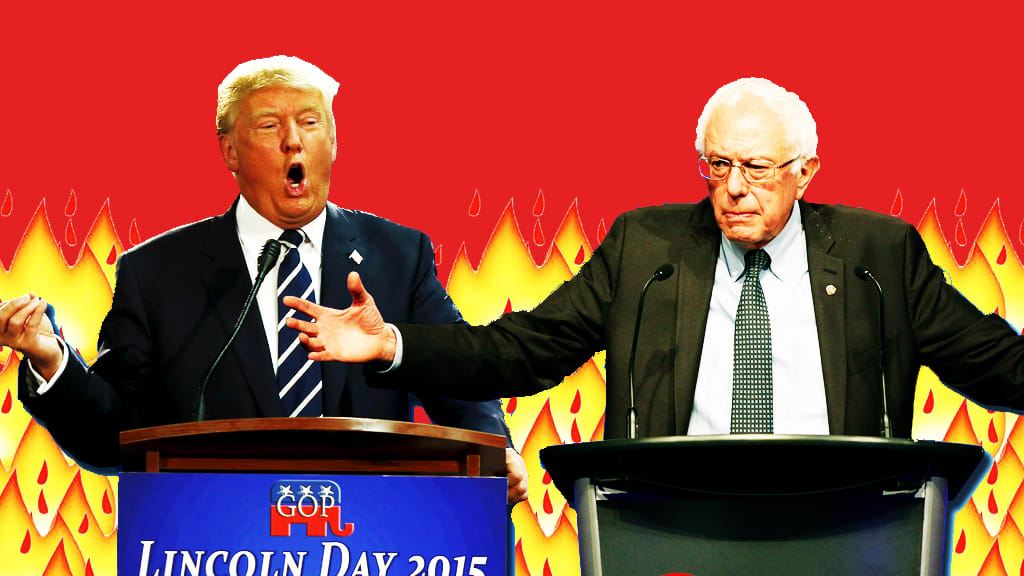 Image result for sanders versus trump