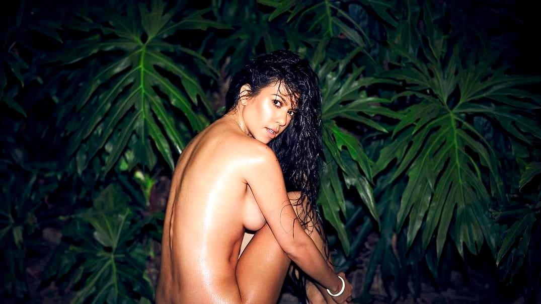 Asian naked umbrella girl