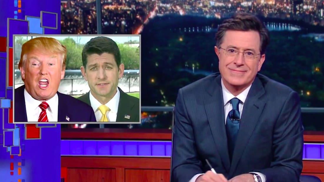 Stephen Colbert's Advice to Paul Ryan on Trump: 'Just Shut Your Eyes and Think of Reagan'