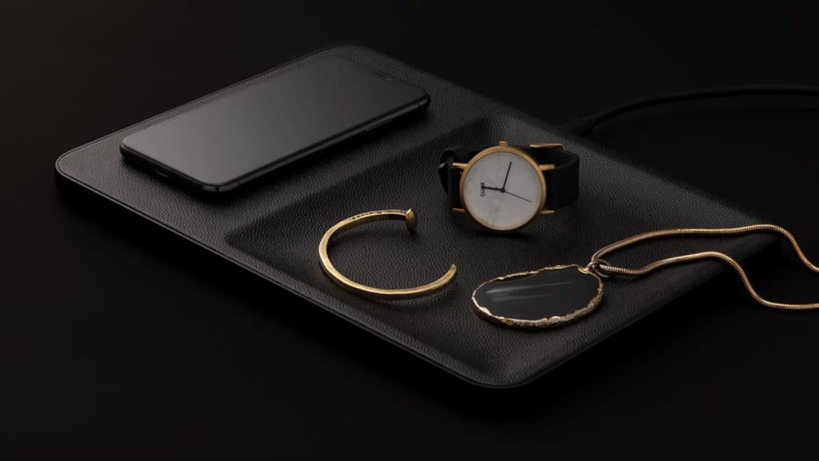 This Beautifully-Crafted Leather Catch-All Will Also Charge your Phone