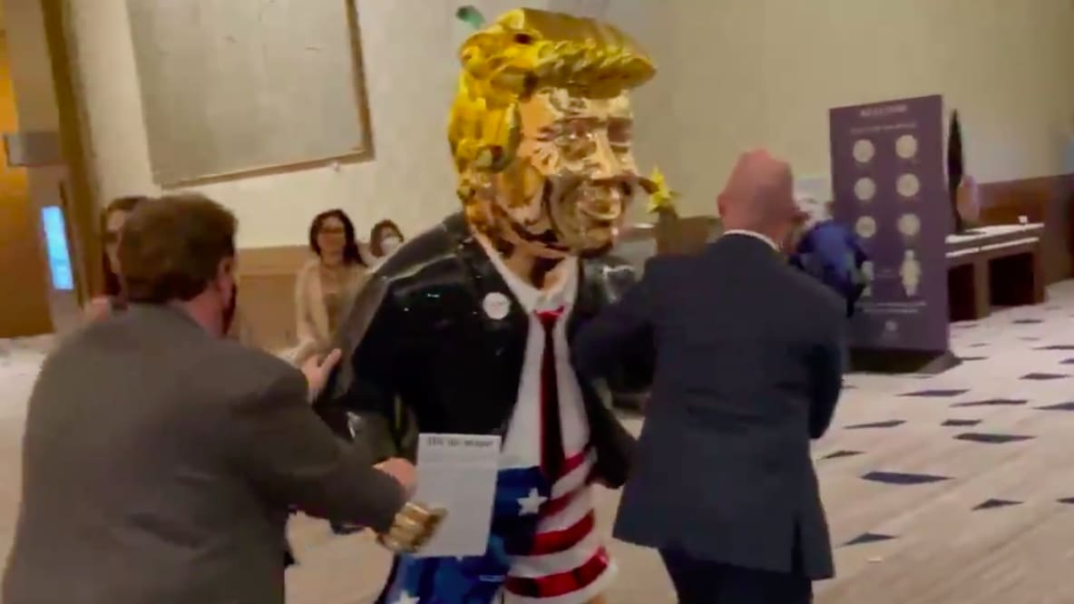 Golden Statue of Donald Trump Unveiled at Hellish-Looking CPAC Meeting