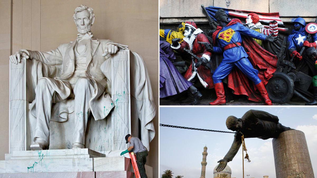 lincoln memorial vandalized. lincoln memorial vandalized