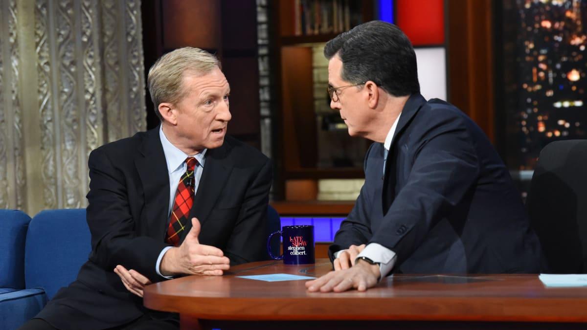 Stephen Colbert Grills Billionaire Democratic Candidate Tom Steyer: 'Money Is a Problem in Our Politics'
