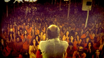 A scene from the Netflix docuseries 'Wild Wild Country,' on the cult of Bhagwan Shree Rajneesh.