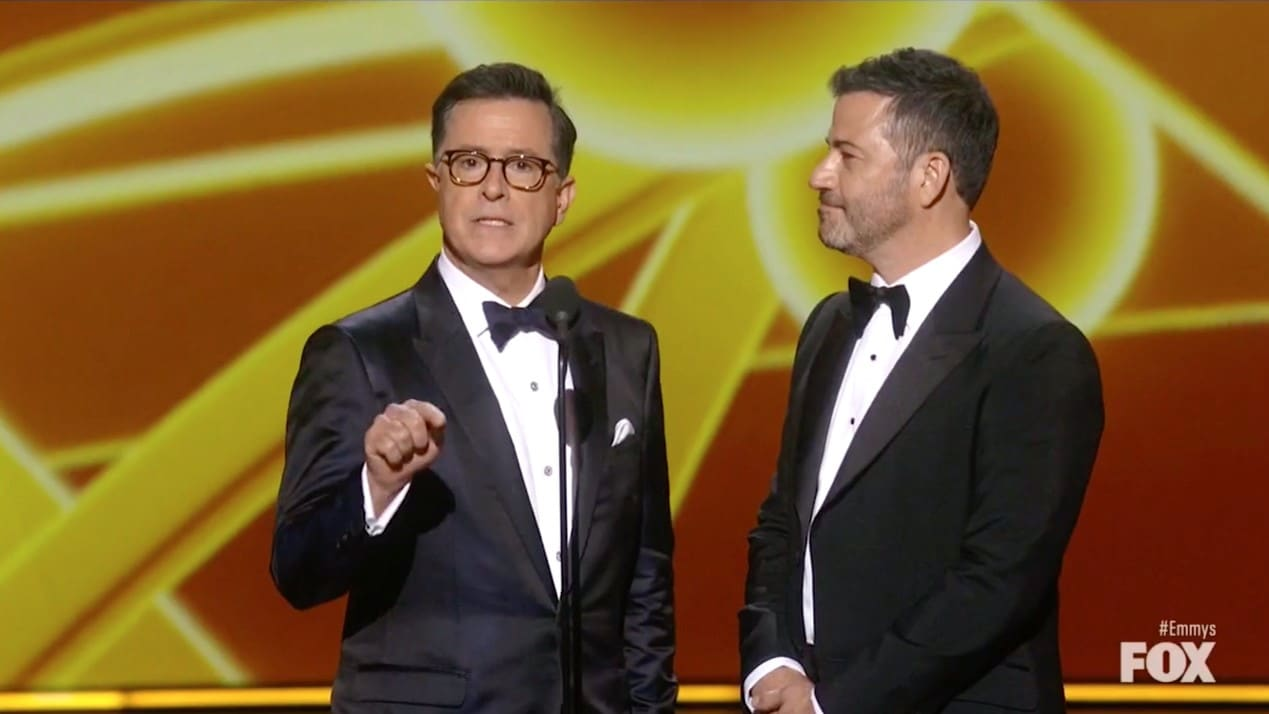 Stephen Colbert and Jimmy Kimmel Mock the Emmys for Going Host-less: 'This Show Sucks!'