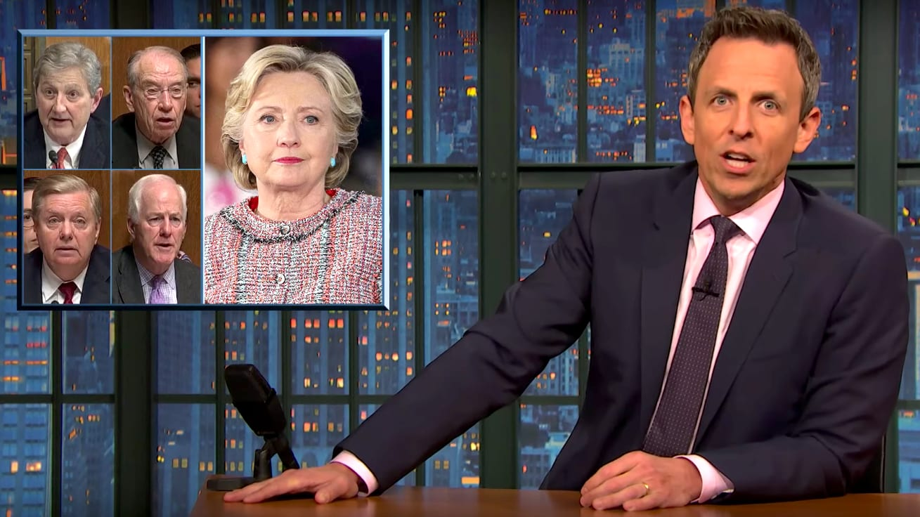 Seth Meyers Goes Off on Lindsey Graham and Senate Republicans for 'Obsessing' Over Hillary Clinton's Emails During Barr Testimony