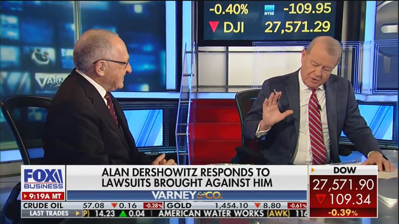 Fox Business Host Stuart Varney Scolds Alan Dershowitz for Calling His Epstein Accuser a 'Sleazy' Woman