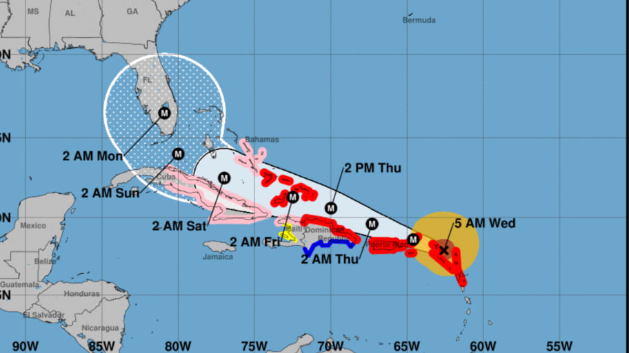 National Hurricane Center Map of Hurricane Irma's path.