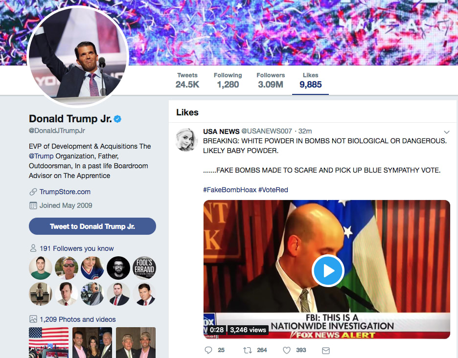 df3a69e951cf Trump Jr.  Likes  Conspiracy Theory   Fake Bombs  Made to  Pick Up ...