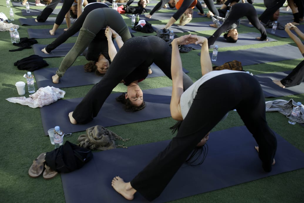 Sexy women in see through yoga pants