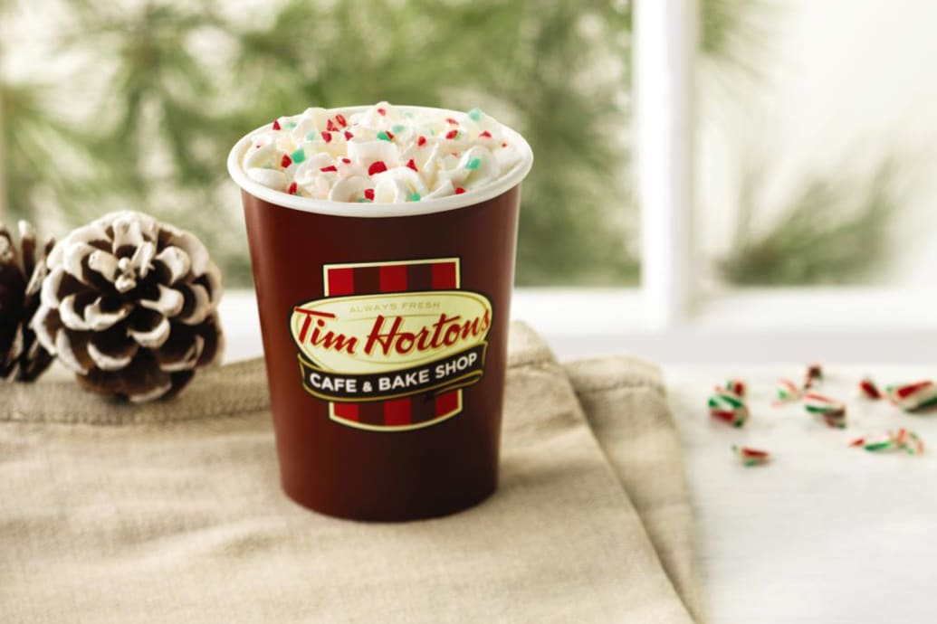 Image result for peppermint white hot chocolate tim hortons""