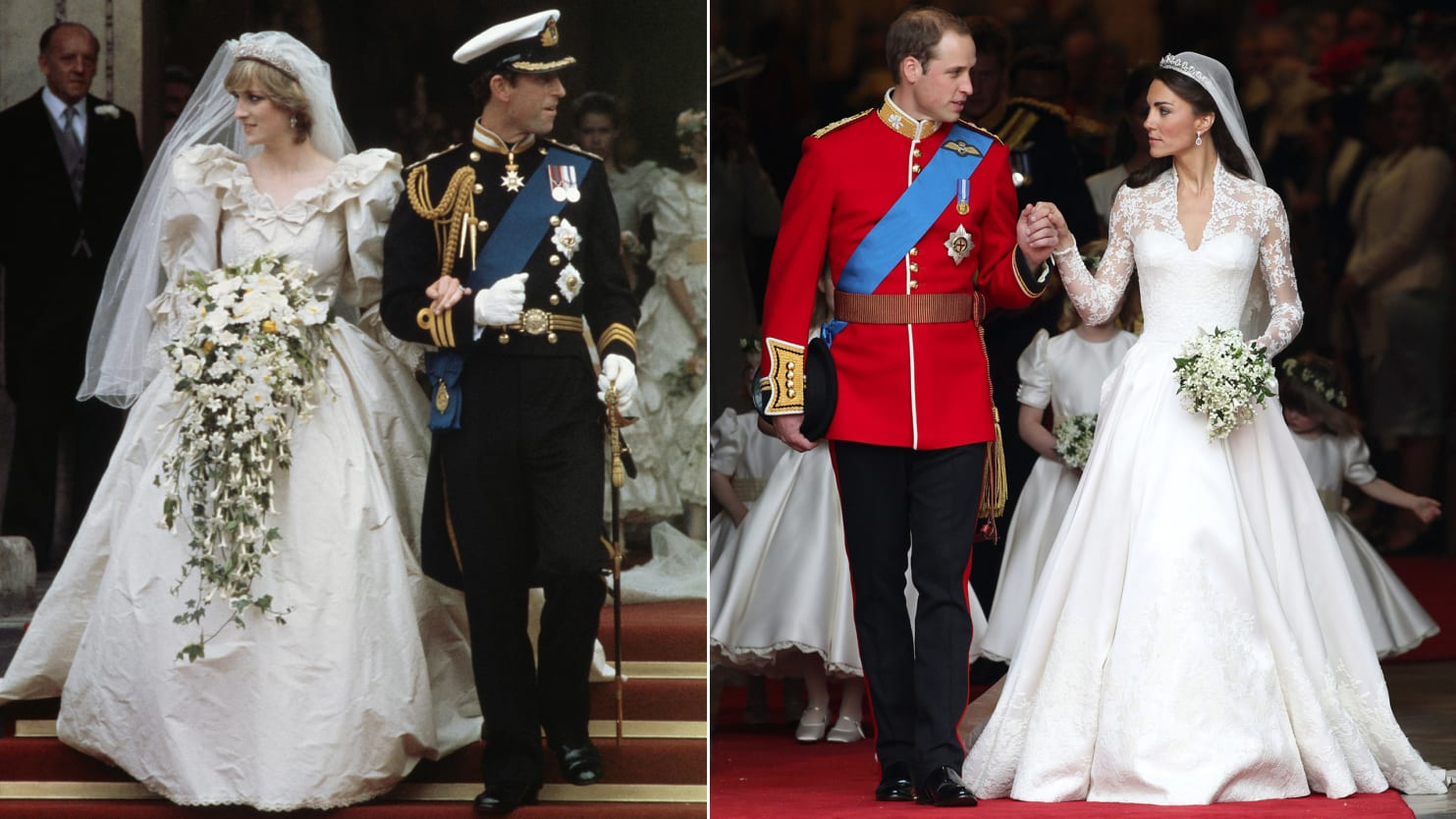 In This Composite Image A Comparison Has Been Made Between The Royal Wedding Cathedral Departure Images Of Prince Charles Wales And Lady Diana